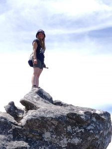 Hanny on the top of Table Mountain
